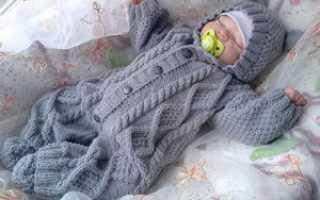 Детский вязанный костюмчик спицами 3 6 месяцев
