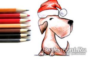 Собака по клеточкам на новый год.