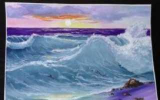 Нарисовать бушующее море карандашом. Море акварелью