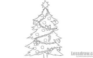 Изящная новогодняя елка рисунок. Как нарисовать елку